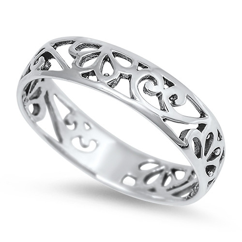 STERLING SILVER 925 Filigree Dress Ring Band