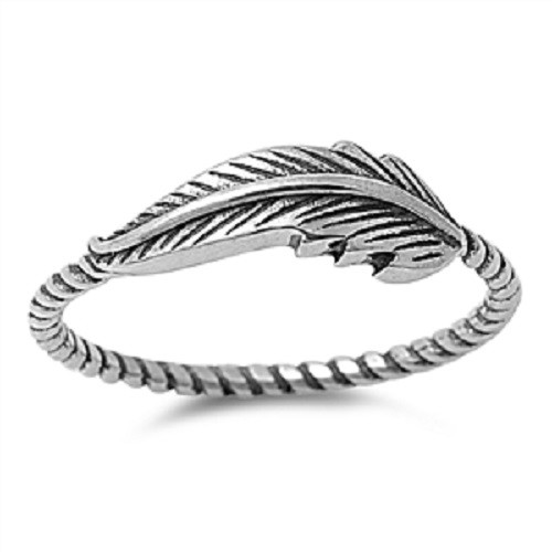 925 STERLING SILVER Oxidised Boho Feather Ring