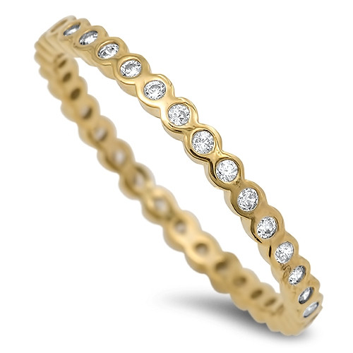 Yellow Gold over Sterling Silver Simulated Diamond Wedding Eternity Ring