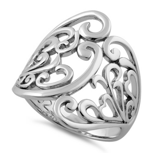 925 STERLING SILVER Wide Filigree Swirl Dress Ring