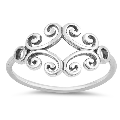 STERLING SILVER 925 Swirl / Swirls Filigree Boho Dress Ring