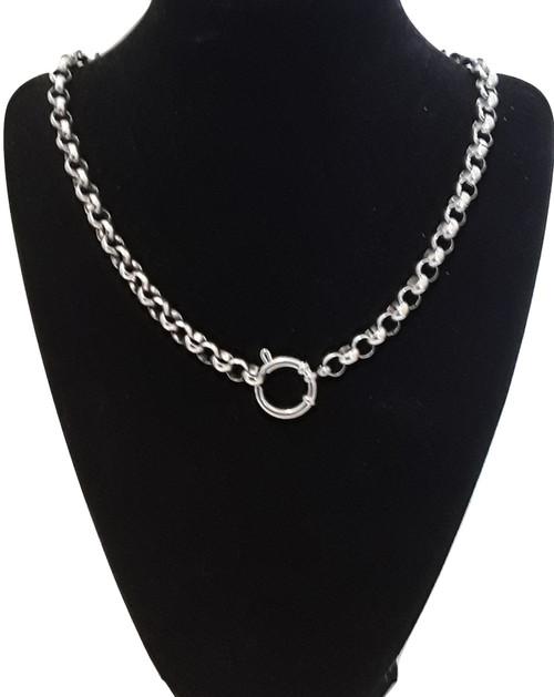 Silver Steel Choker European Bolt Ring Belcher Rolo Necklace