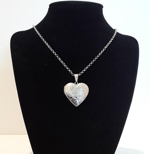 Silver Steel Book Photo Love Heart Locket Necklace Pendant Chain
