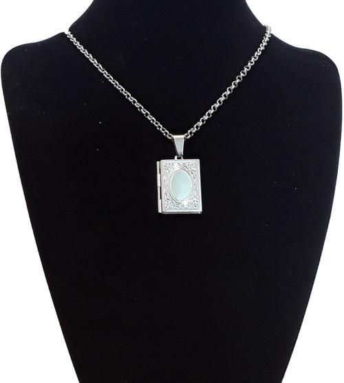 Silver Steel Book Photo Rectangular Locket Necklace Chain