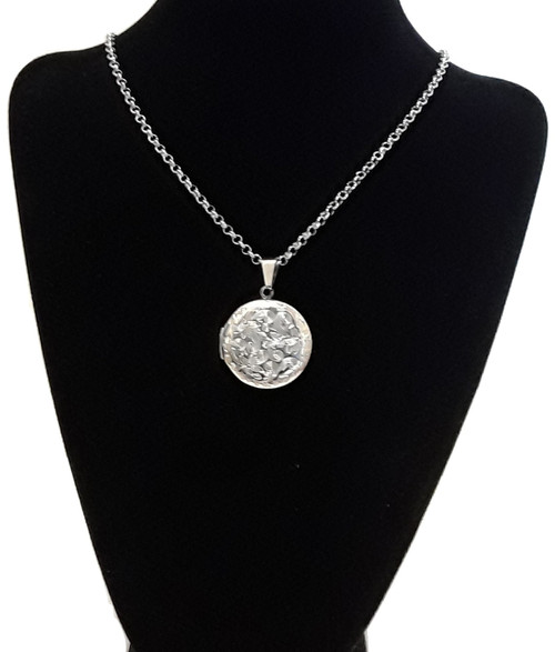 Book Photo Locket Round Pendant Silver Stainless Steel Necklace Chain
