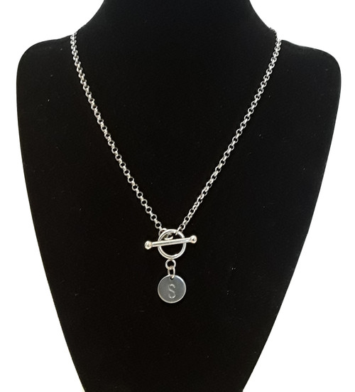 Hand Stamped Initial T Bar Toggle Necklace Chain Pendant Silver Stainless Steel