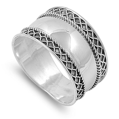 925 STERLING SILVER Oxidized Boho Wide Thumb Ring