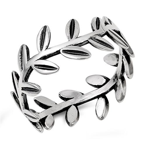Sterling Silver Olive Vine Leaf Leaves Boho Dress Ring