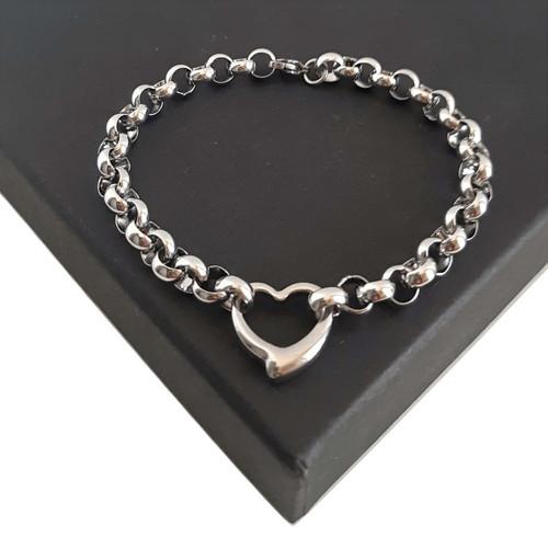 Silver Stainless Steel Love Heart Rolo Belcher Bracelet - Customised length
