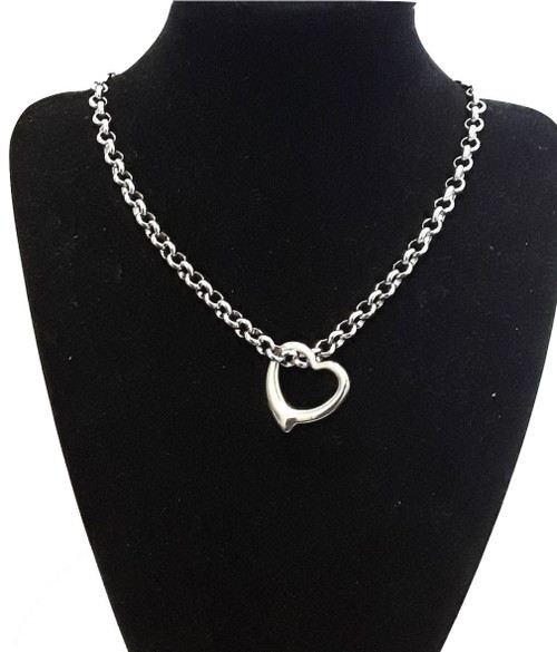 Custom Made Length Open Love Heart Necklace Chain Pendant Silver Stainless Steel