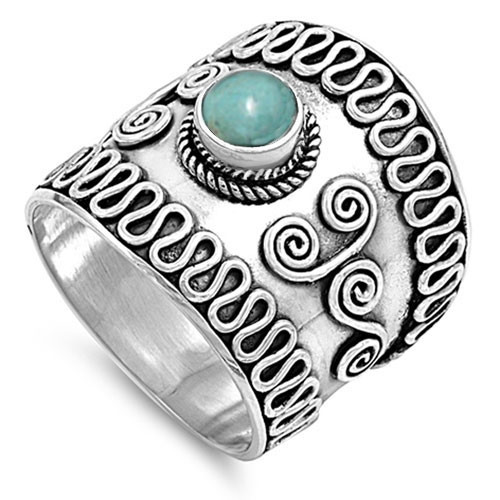 925 Sterling Silver Wide Turquoise Boho Dress Ring