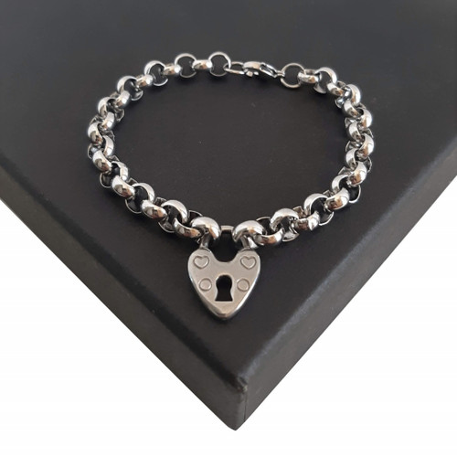 Custom Made Length Silver 316 Steel Padlock Love Heart Rolo Belcher Bracelet
