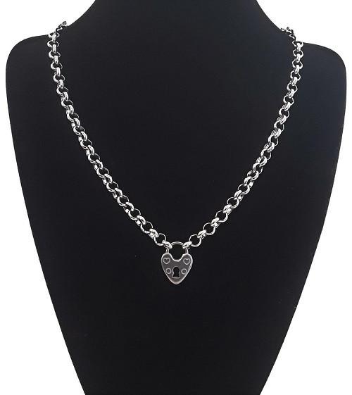 Custom Made Length Silver Steel Choker Love Heart Padlock Belcher Rolo Necklace