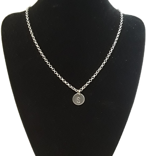 Personalised Hand Stamped Initial Letter Necklace Chain Pendant Silver Steel