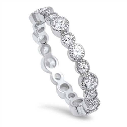 Brand New 925 Sterling Silver Simulated Diamond Eternity Stackable Ring