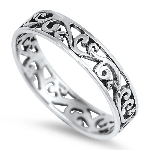 STERLING SILVER 925 Filigree Dress Thumb Ring Band Plus Size
