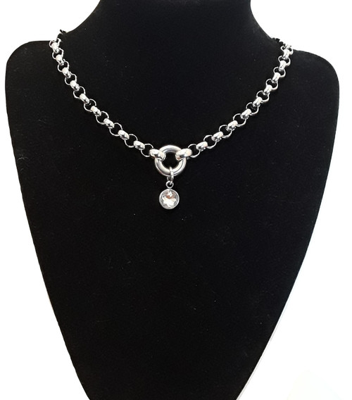 Crystal Formal Choker Chain Necklace Silver Stainless Steel Customised Hand Made