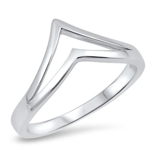 Sterling Silver 925 Minimalist Double V point Wishbone Boho Ring