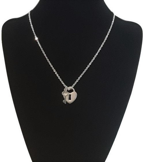 Silver Stainless Steel Custom Made Love Heart Padlock and Key Pendant Necklace Chain