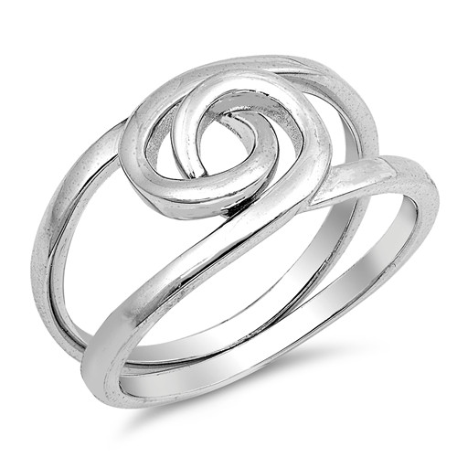 925 STERLING SILVER 2 Piece Swirl Puzzle Ring Large Plus Size