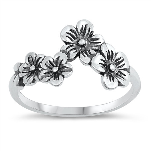 Oxidised Sterling Silver Daisy Flower Chain Dress Ring
