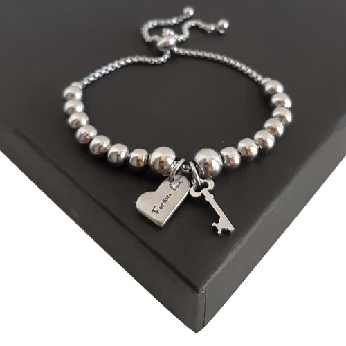 Beaded Silver 316 Steel Expandable Slider Sliding Bead Adjustable Heart Bracelet