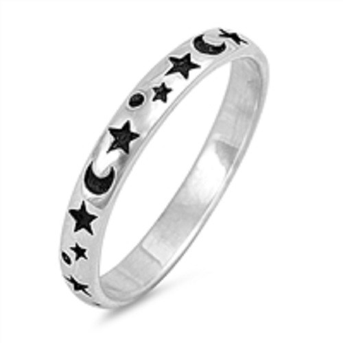STERLING SILVER 925 Midi Knuckle Moon and Stars Ring Plus Size