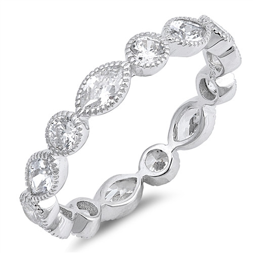 STERLING SILVER 925 Alluring Marquise Stackable Ring Plus Size