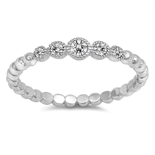 STERLING SILVER 925 5 Stone CZ Bubble Dress Stack Ring Plus Size