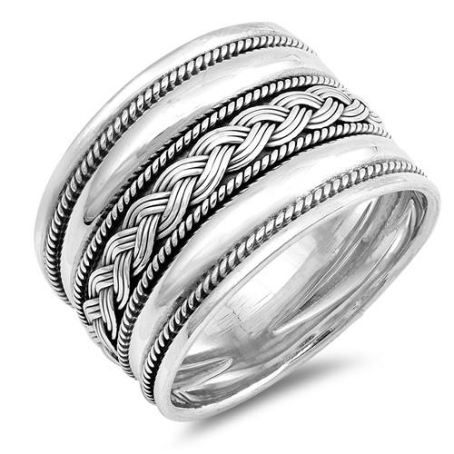 STERLING SILVER 925 Oxidized Bali Boho Weave Wide Thumb Ring Plus Size