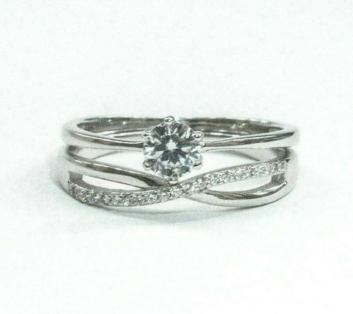 Sterling Silver Half Carat Simulated Diamond CZ Engagement Bridal Ring Set