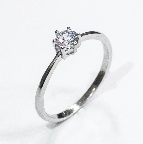 925 Sterling Silver 1/2 Carat Round Simulated Diamond CZ Engagement Ring