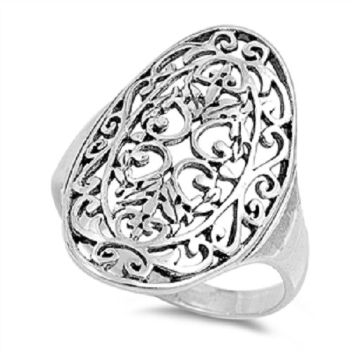 STERLING SILVER Wide Oval Filigree Statement Ring Plus Size