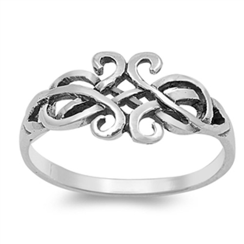 925 Sterling Silver Celtic Knot Swirl Ring