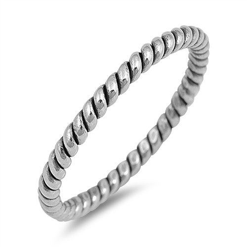 Sterling Silver 925 Twist Stack Band Dress Ring