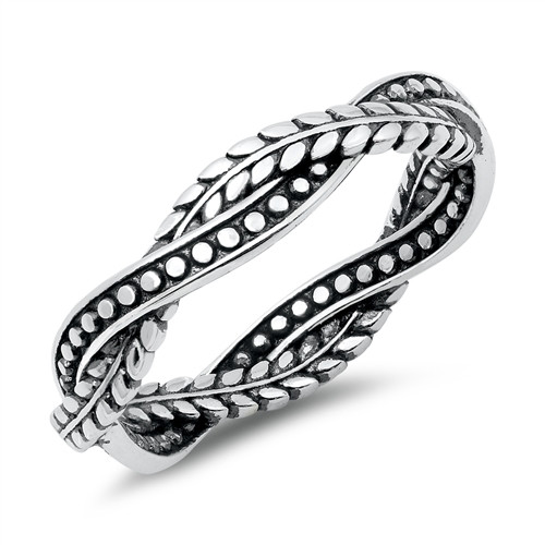 Sterling Silver 925 Twisted Vine Weave Boho Dress Ring Band