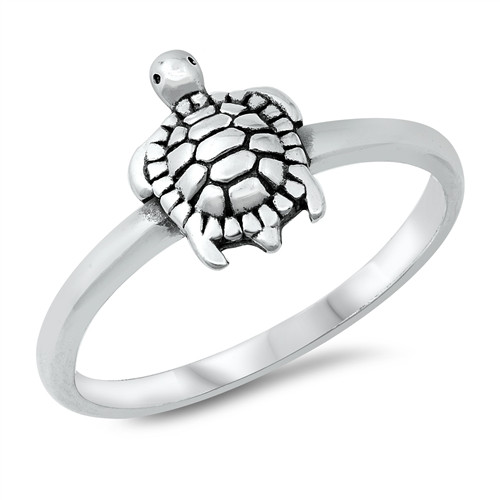 STERLING SILVER 925 Sea Turtle Dress Ring Large Plus Size