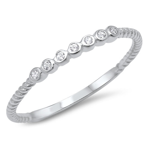 STERLING SILVER 925 CZ Promise Ring Stackable Band Plus Size