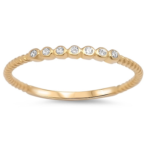 Yellow Gold over 925 Silver CZ Promise Ring Stackable Band Plus Size