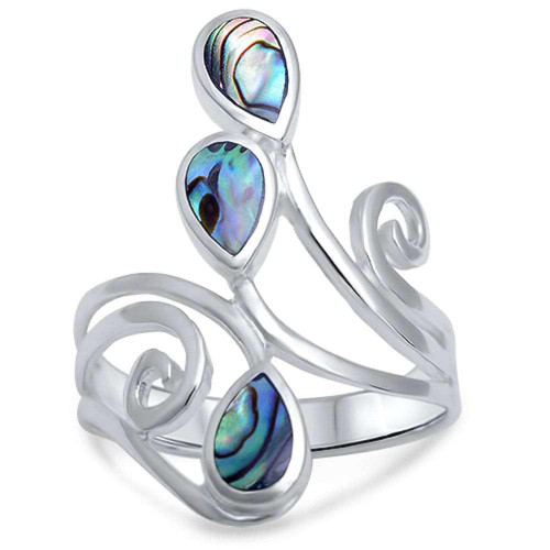 STERLING SILVER Wide Swirl Paua Abalone Shell Ring Large Plus Size