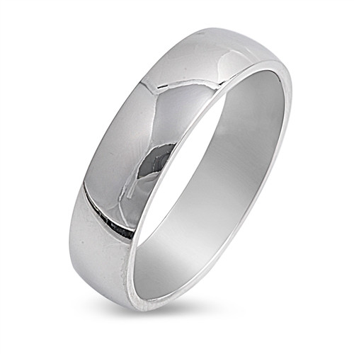 Silver Stainless Steel Plain Comfort Wedding Band 5mm Wide Ring