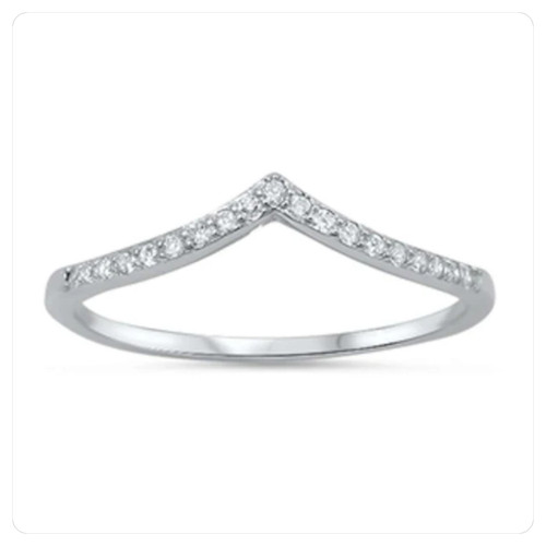 STERLING SILVER CZ Chevron V Point Wishbone Ring