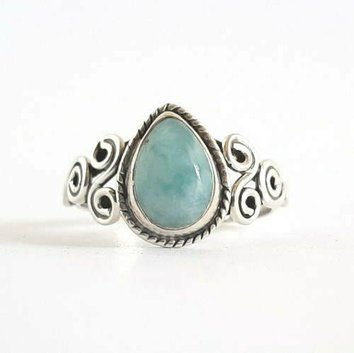 STERLING SILVER Genuine Natural Larimar Stone Ring