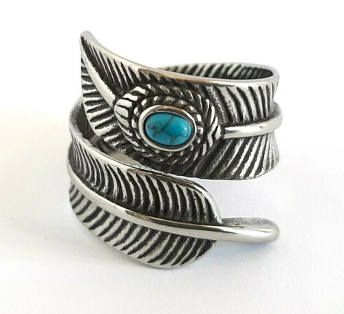 Boho Feather Blue Stone Silver Stainless Steel Ring