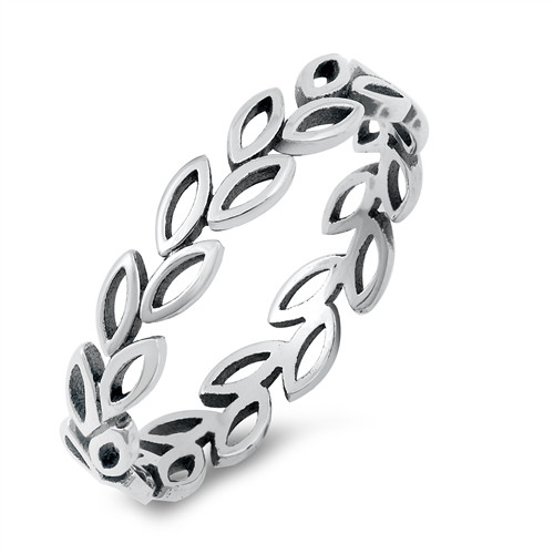925 STERLING SILVER Leaf Leaves Vine Band Ring Plus Size