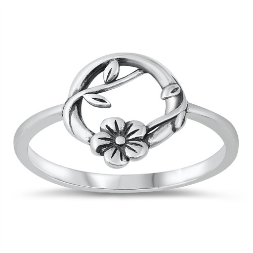 STERLING SILVER 925 Floral Flower Wreath Vine Ring Plus Size