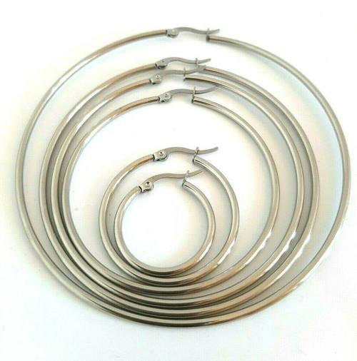 Silver Stainless Steel Minimalist Plain Hoop Earrings