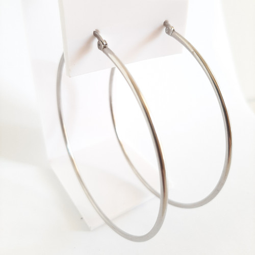 Silver Stainless Steel Minimalist Plain Hoop Earrings