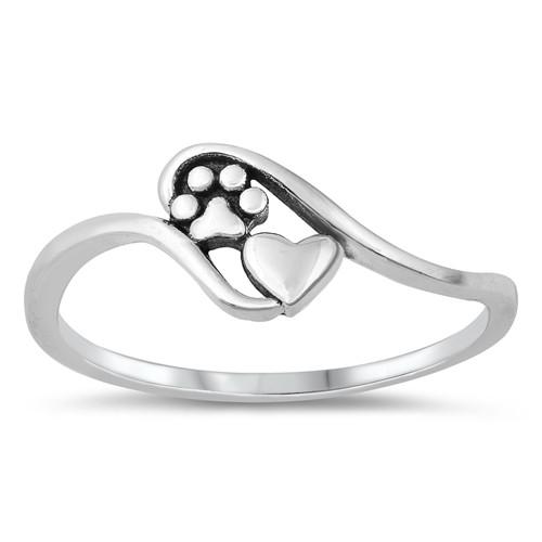 STERLING SILVER Cat Kitten Dog Puppy Paw Print Heart Ring