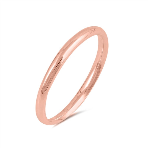 Rose Gold over 925 Wedding Ring Comfort Band 2mm